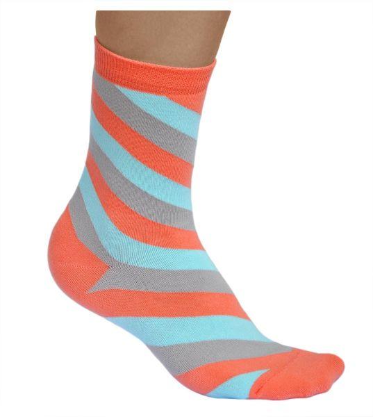 Womens multicoloured cotton slanted stripes socks