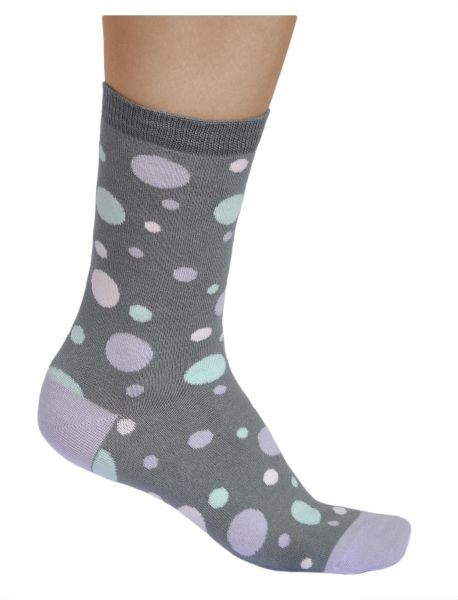Womens colourful dots cotton grey spotted socks