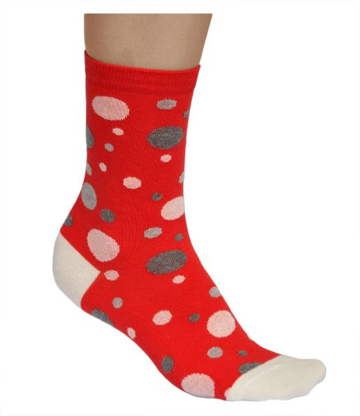 Womens grey dots cotton red spotted socks