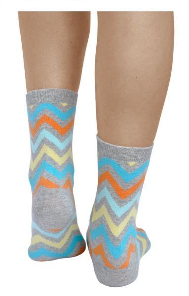 Multicoloured Zigzag Cotton Novelty Socks (Women)