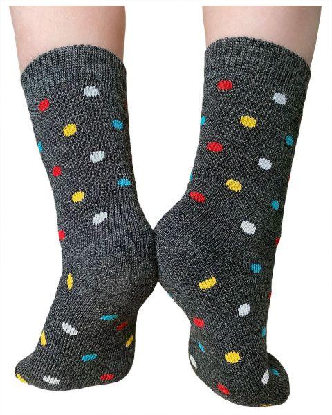 Kids merino wool cushioned dotted warm winter woollen socks