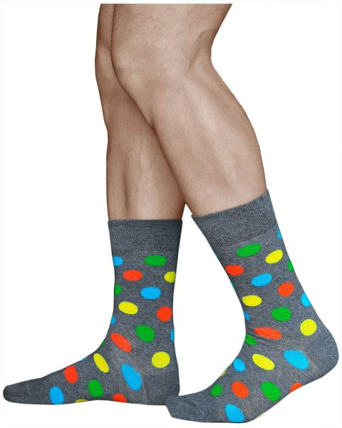 Colourful Dots Mid-Calf Cotton Grey Spotted Socks (Men)