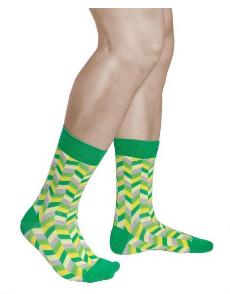 Mens green grey yellow pattern mid-calf cotton novelty socks