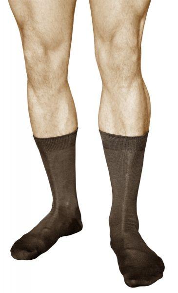 Mercerised Cotton Plain Brown Business Socks (Men)