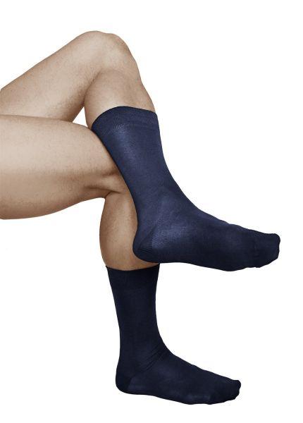 Mercerised Cotton Plain Navy Blue Business Socks (Men)