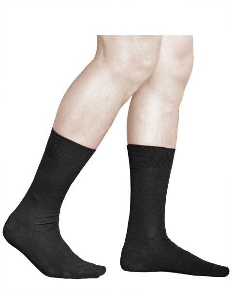 98% Premium Cotton Plain Black Dress Socks (Men)