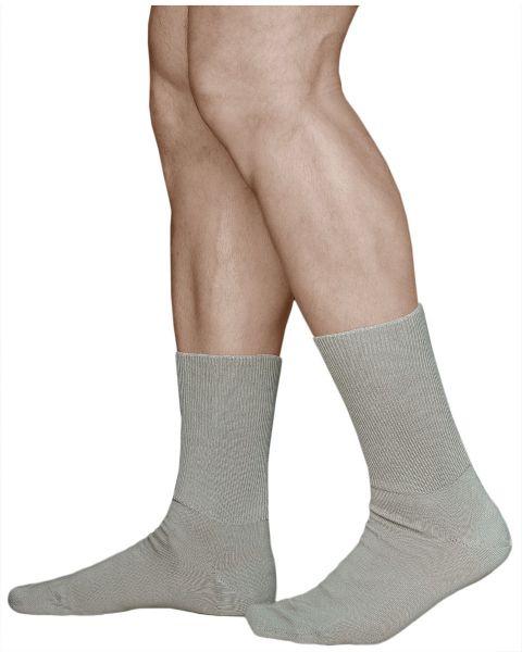 Extra-Wide Loose-Fitting Beige Cotton Socks (Men)