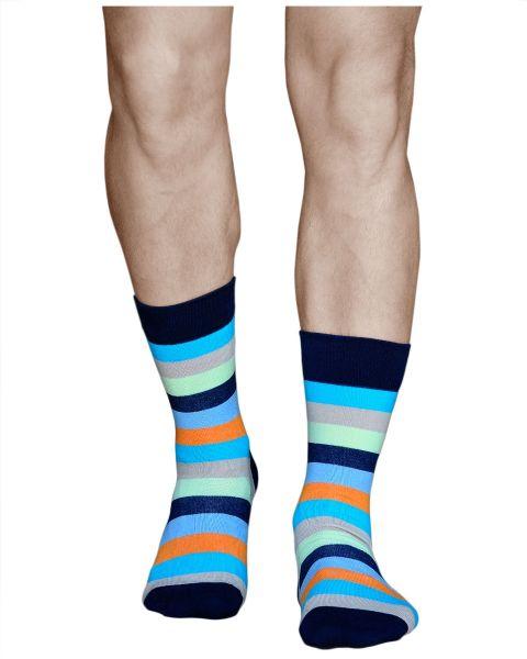 Multicoloured Mid-Calf Cotton Striped Socks (Men)