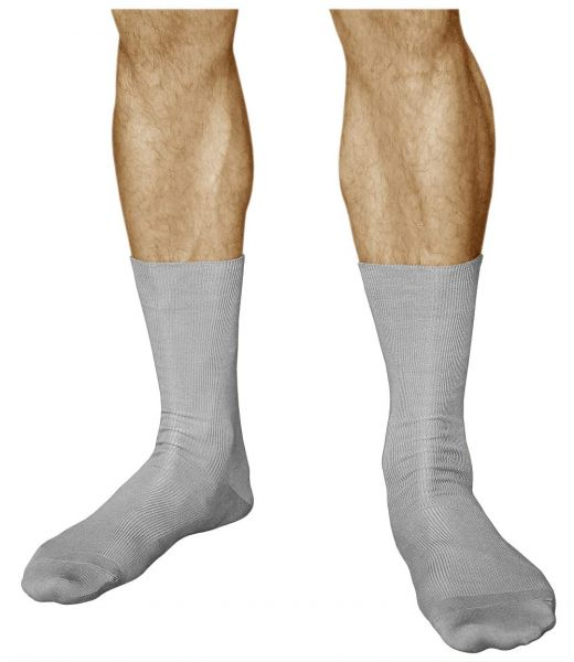 Non-Elastic 98% Cotton Soft Grey Loose-Top Socks (Men)