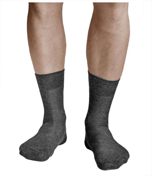 Linen-Cotton Breathable Thin Dark Grey Summer Socks (Men)