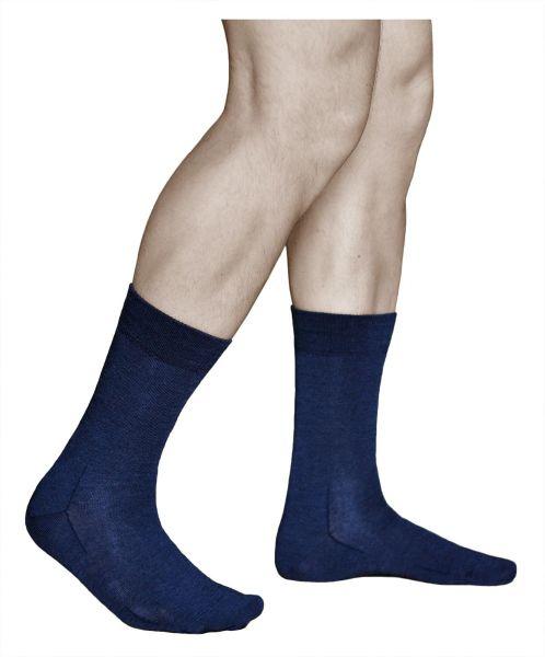Mens merino wool mid-calf warm dress navy blue woollen socks