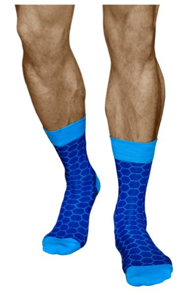 Mens honeycomb pattern blue mid-calf cotton fun socks