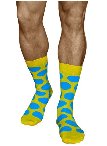 Mens large blue dots mid-calf cotton yellow spotted socks