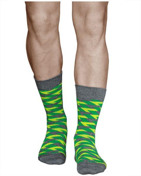Zigzag Green Yellow Grey Mid-Calf Cotton Novelty Socks (Men)