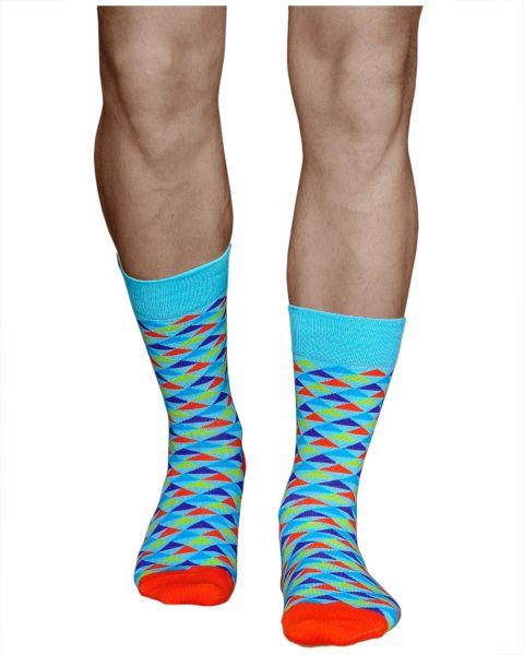 Multicoloured Triangles Mid-Calf Cotton Crazy Socks (Men)