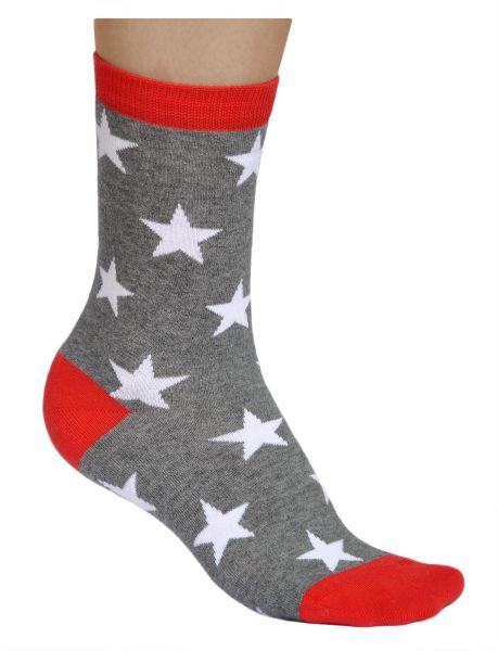 Womens white stars cotton grey fun socks