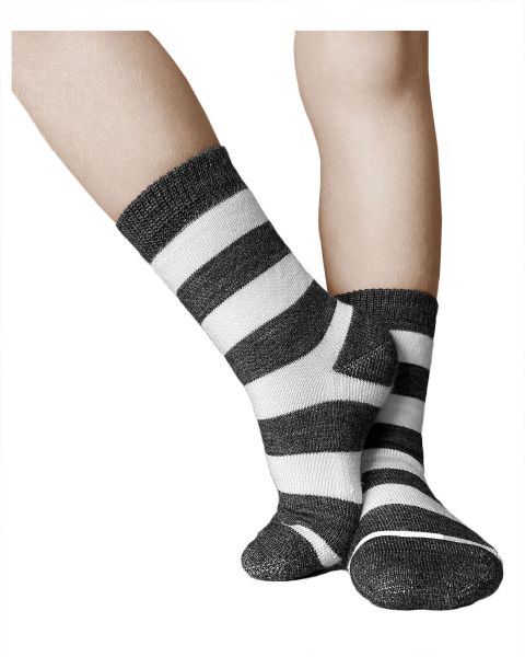 Kids merino wool cushioned striped warm winter woollen socks