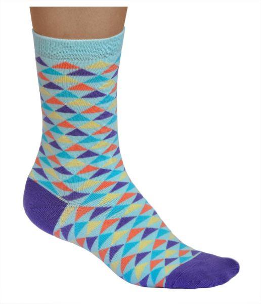Multicoloured Triangles Cotton Crazy Socks (Women)