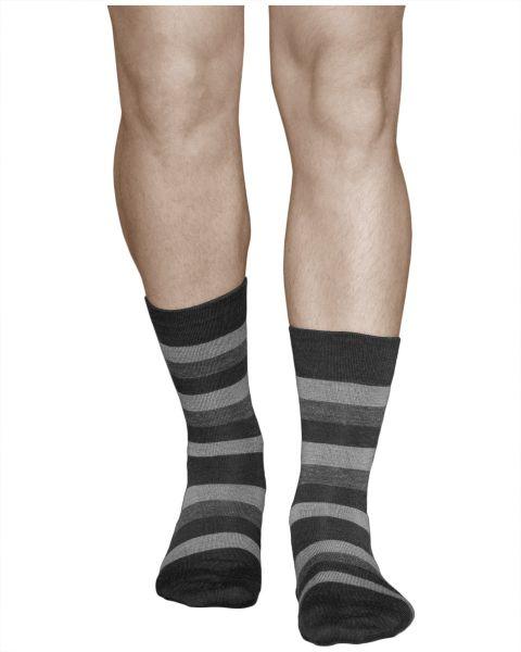 Merino Wool Striped Socks Warm Black-Grey (Men)