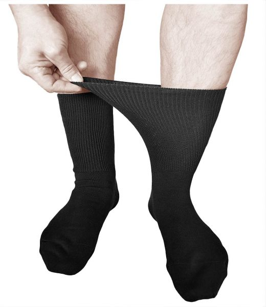Extra-Wide Loose-Top Socks Cotton Black (Men)