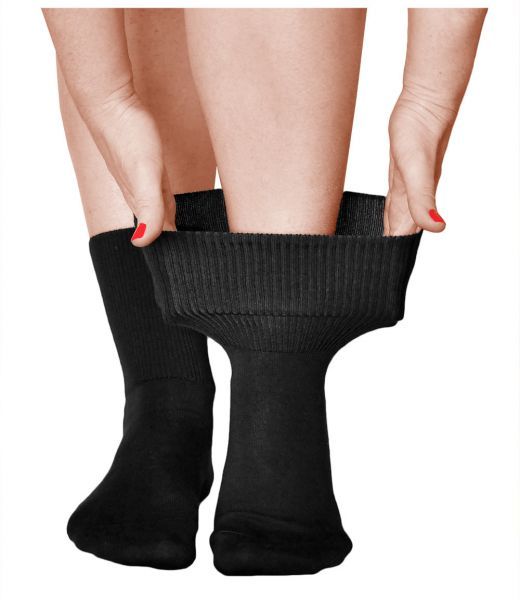 Extra-Wide Loose-Fitting Black Cotton Socks (Women)